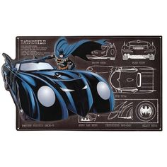Turn your home into the Bat Cave with this Bat Mobile schematic sign. This is perfect for anyone wanting to learn the inner workings of the most notorious superhero ride. Batman Comic Art, Spiderman Art, Batman Logo, Batman Robin, Dc Comics Superheroes, Batman Comics, Batman Batmobile, Lego Batman, Amazing Fantasy 15