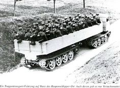 A RSO hauling a prototype tracked trailer designed for transporting large numbers of troops that proved impractical in a combat role. Military Armor, Military Guns, Military History, Military Vehicles, Steyr, British Armed Forces, Germany Ww2, Armored Fighting Vehicle, Military Equipment
