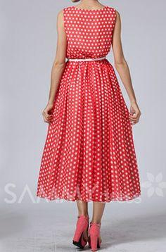 Cute Women's Scoop Neck Sleeveless Polka Dot High-Waisted Chiffon Dress