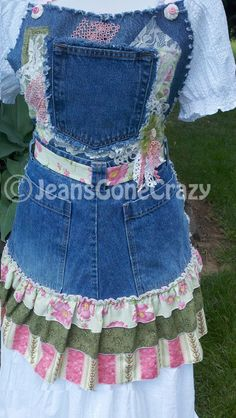 Fun and Frilly Pink and Green Repurposed Jean by JeansGoneCrazy, $72.00