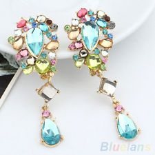 FASHION IRIDESCENT CRYSTAL DANGLE EARRINGS RHINESTONE BLUE BEADS DROP EAR STUDS