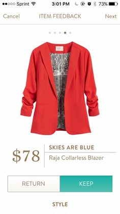 Stitch Fix Skies are Blue Raja Collarless Blazer- curious to try bright outerwear
