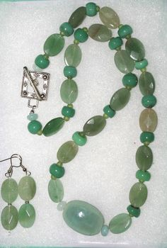 143  Beautiful Light Green Jade Necklace and Earring by SCLadyDi, $24.95