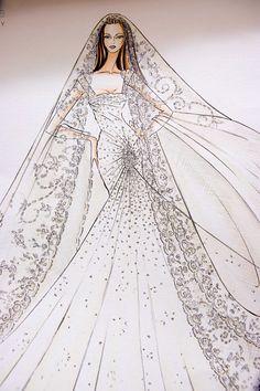 Elie Saab   I love how designer sketches look #sketch #bocetos #novia
