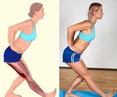 İlgili kaslar: Arka bacak kasları. Dik durun bir ayağınızı diğerinin önüne koyun. Belinizi düz tutun, ellerinizi kalçanıza koyun ve vücudunuzu öne doğru bükün. Daha sonra diğer bacağınız için tekrarlayın.