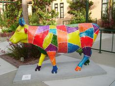 """San Diego, California - Cows on Parade - """"Crazy Quilt"""" - 40 life size fiberglass cow statues"""
