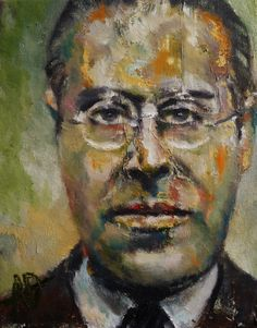 Portrait of Hungarian artist Laszlo Moholy-Nagy, by Alan Derwin.  Oil on Canvas.