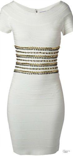 Herve Leger ● White Metallic Bead Embellished Bandage Dress