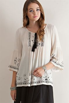 Embroidery Print Peasant Blouse - Natural - Knitted Belle Boutique  - 1