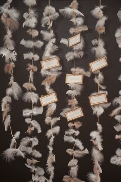 #Escort Cards - #Feathers Anyone? See the inspiration on SMP http://www.StyleMePretty.com/little-black-book-blog/2013/05/10/great-gatsby-wedding-inspiration-from-robert-kathleen-photographers/ Robert and Kathleen Photographers