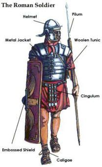 typical. The typical Roman soldier had a standard set of armor and weaponry.