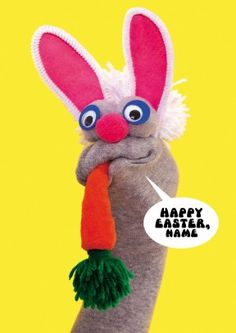 Say happy Easter with this fun sock puppet, personalised it for a personal touch.