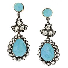 Victorian Turquoise Diamond Silver Gold Earrings and Brooch | From a unique collection of vintage dangle earrings at https://www.1stdibs.com/jewelry/earrings/dangle-earrings/