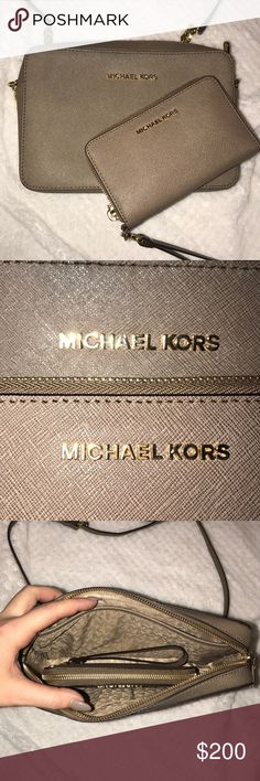 Michael Kors crossbody and Wristlet Barely used. Just sitting in my closed. Saffiano leather. Dark dune in color with gold hard ware. Michael Kors Bags Crossbody Bags