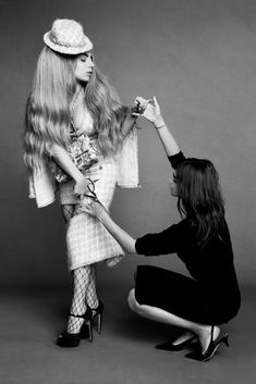 Carine assists Lady Gaga cutting off a Chanel fall 2014 skirt for the september issue of Harpers bazaar