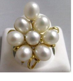"Large 8 Pearl & Diamond Cluster Ring 14k Solid Gold NWOT - 1.25x1"" setting #iwi #Cocktail"