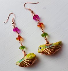 Well this is my version of bird in a basket . Polymer clay birds and multi colour quartz in copper plated wire basket , ear wire also copper plated. Earring drop just over 7 mm/3 inches. Sent securely in gift box in bubble wrapped envelope. Sent within two says of payment received. Any question please pm me .