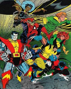 Spider-Man and the X-Men by Todd McFarlane from the cover of Marvel Tales Hq Marvel, Marvel Comics Art, Marvel Comic Universe, Comics Universe, Comic Book Characters, Marvel Characters, Comic Character, Comic Books Art, Book Art