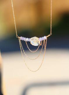 Tanzanite necklace  crystal necklace  crystal quartz  by BubuRuby, $52.00