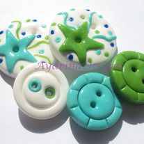 Cute polymer clay buttons. In my frustration to find buttons for my sewing projects I'm going to try and make my own.