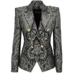 balmain-double-breasted-paisley-blazer ($1,950) ❤ liked on Polyvore featuring outerwear, jackets, blazers, suit, grey, double breasted blazer, long sleeve blazer, gray jacket, grey blazer and peaked lapel blazer