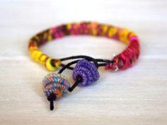 Wool Yarn Charm Bracelet - yellow pink
