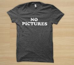 "You might recognize this vintage tee from Blondie's (Debbie Harry) legendary ""No Pictures"" photograph taken in Amsterdam during her first European tour in 1978. Her album, Heart of Glass, quickly made it to number 1 in the charts the following year. T-shirt: $22"