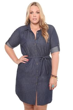 Denim Button-Front Shirt Dress  $24.97
