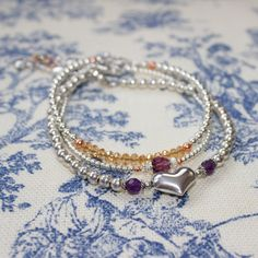 Sale, use shop coupon code) Sterling Silver Amethyst Kinsey Heart Beaded Bracelet on Etsy, $40.00 CAD