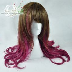 ● the prime and ● Japanese GAL Harajuku wind brownish yellow rose purple deep pink-color gradient female long curly hair daily wig - Taobao