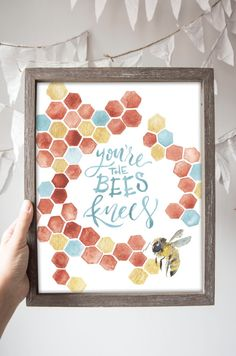Youre the bees knees! Honeycomb illustrated print with a little watercolor bee beauty.  ******************  Original watercolor digitally printed on high-quality 100# matte cover stock paper. Printed locally in Nashville, Tennessee and shipped with love right to your doorstep!  Available in 4 sizes: Standard 8x10 and 11x14 on this listing Or for larger format poster prints (18 by 24in and 24 by 36in) use this listing: https://www.etsy.com/listing/291477219/youre-the-bees-knees-poster…