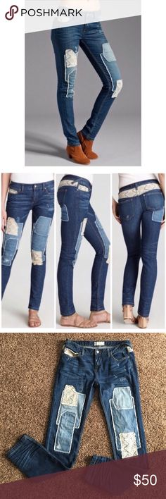 Free People! Patch work Dark Skinny Jeans! Excellent condition! No rips or stains. No signs of wear. Check out my other listings! Bundle and save:) Free People Jeans Skinny