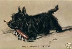 Scottish Terrier HUMBLE SERVANT 1930's New Note Cards