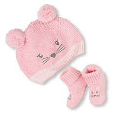 Newborn Baby Kitty Knit Hat And Booties Set 2-Pack - Pink - The Children's Place
