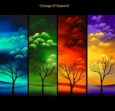 four seasons painting Abstract Tree Painting, Canvas Painting Landscape, Easy Canvas Painting, Diy Canvas Art, Painting Frames, Four Seasons Art, Cross Paintings, Pastel, Decoration