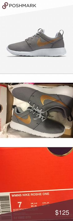 Nike Roshe gray with gold Brand new with box. Authentic can provide receipt proof. Size 7. Rare and sold out! Nike Shoes Sneakers