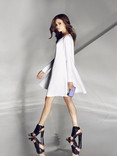 Most important and characteristic features of MOHITO outfits designed for autumn and winter 2014 are modern cuts, oversize-but-still-feminine forms and set of contrastive colors. Leading cuts include midi-length umbrella dresses and trumpet skirts finished with frills and tight-fitting miniskirts which perfectly define natural proportions of feminine curves. Mohito women would match mentioned items with rounded shoulders, glamrockish perfecto jackets and trendy accessories: orange heels…