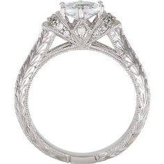 Antique Oval Center Engagement Ring 0.17pt 14kt White by JPoliseno, $1100.00