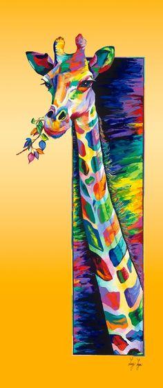 "Saatchi Art Artist: Linzi Lynn; Acrylic 2011 Painting ""Giraffe Eating limited edition #2 of 50"""