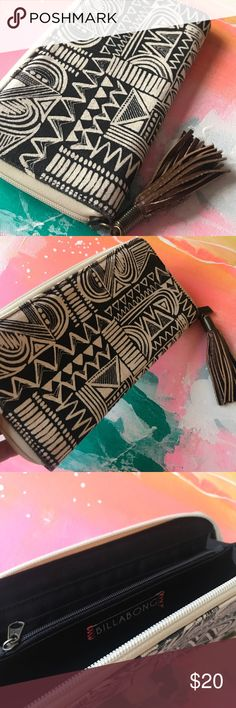Billabong clutch/wallet Billabong black and white patterned clutch and/or wallet. Zipper closure with tassel. Never used. Billabong Bags Clutches & Wristlets