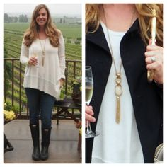 How great does Adrienne from www.therichlifeonabudget.com look in our Matt Gold necklace with fringe! Make sure to check out her blog story about her visit to beautiful Gloria Ferrer Winery.  You can purchase the necklace on our web site www.jacketsociety.com/shop/