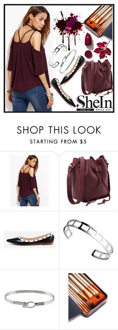 """""""Burgundy Strappy Cold Shoulder T-shirt"""" by jelena-880 ❤ liked on Polyvore featuring NARS Cosmetics"""