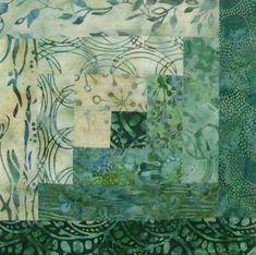 Batik 12 Block Log Cabin Pre Cut Quilt Kit 29 x 39 Bluegrass