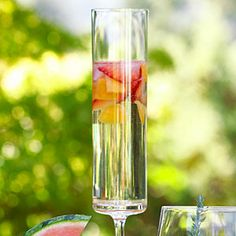 1 cup halved, thinly sliced strawberries $  1 cup chopped apricots or peaches $  1 cup chilled St-Germain liqueur  1 bottle chilled prosecco  Preparation    Put strawberries, apricots, and liqueur in a pitcher. Pour in prosecco, stir gently, and pour into Champagne flutes.
