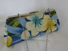 Blue Hawaiian tropical clutch purse Blue Beach wedding clutch purse Blue floral Bridesmaid clutch purse Vacation clutch  BBsCustomClutches by BBsCustomClutches on Etsy