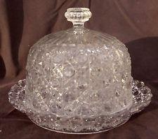 Ancienne Cloche à Fromage + Plateau - Baccarat  Cristal moulé Diamant Pierreries