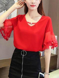 V-Neck Hollow Out Plain Bell Sleeve Blouse Blouse Styles, Blouse Designs, Red Blouses, Blouses For Women, Bell Sleeve Blouse, Bell Sleeves, Blouse Online, Lovely Dresses, Fashion Dresses
