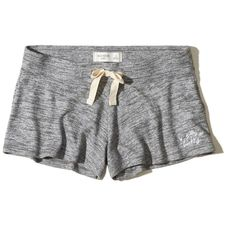 Hollister Cozy Logo Graphic Sleep Shorts (26 AUD) ❤ liked on Polyvore featuring shorts and heather grey