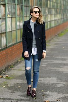 fall outfit, winter outfit, fall layers, winter layers, casual outfit, comfy outfit, tomboy outfit, military coat outfit - navy military coat, grey sweater, stripe shirt, distressed skinny jeans, burgundy oxfords, black sunglasses