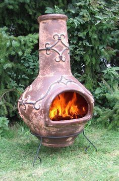 Exklusiver großer MEXICO Ofen Gartenkamin Feuerschale Terrassenofen, Terracotta
